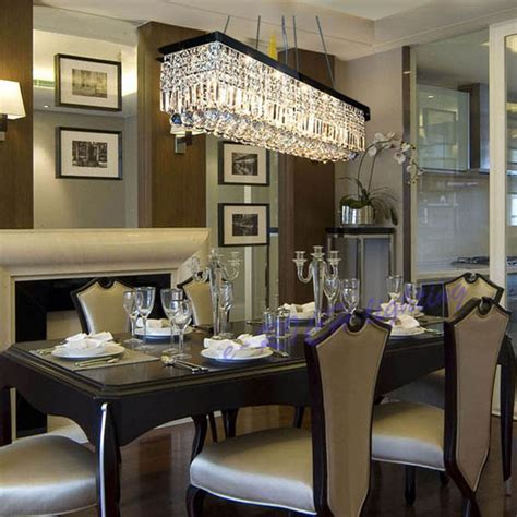 chandelier dining beautiful rectangular dining room light modern linear