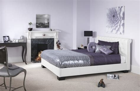 serene roma ft small double white faux leather bed frame