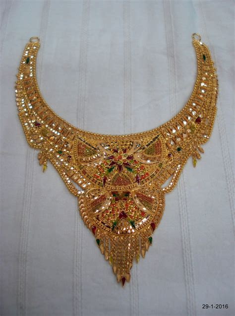 Handmade Gold Necklace - 22kt gold necklace traditional design gold choker filigree
