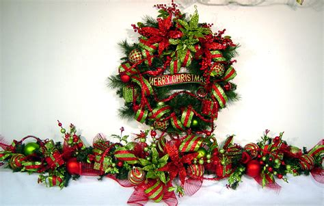 christmas mantel garland holiday swag bling red lime green 6