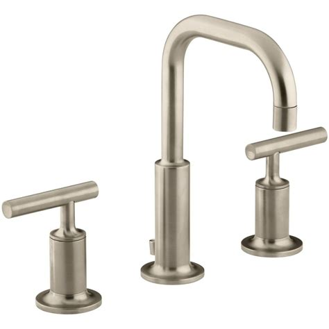 kohler faucets kohler k 14406 4 bv purist vibrant brushed bronze two handle widespread bathroom faucets