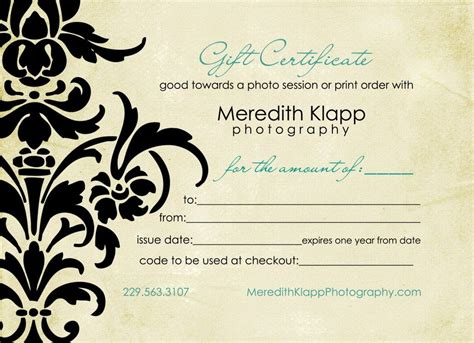 photography gift certificate templates photography gift certificatesgift certificate for free