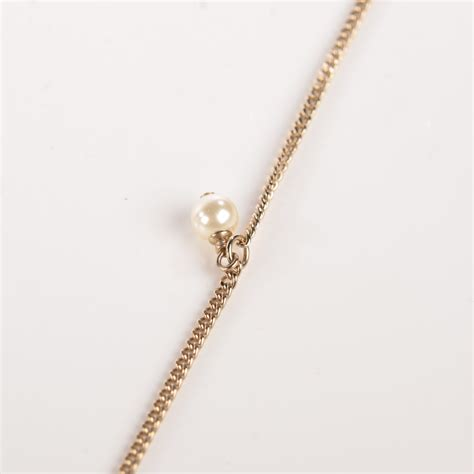 chanel pearl cc pendant necklace gold 115940