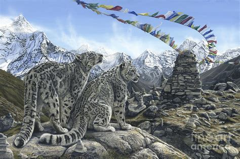 Leopard Home Decor by A Prayer For The Snow Leopard Painting By Morgane Antoine