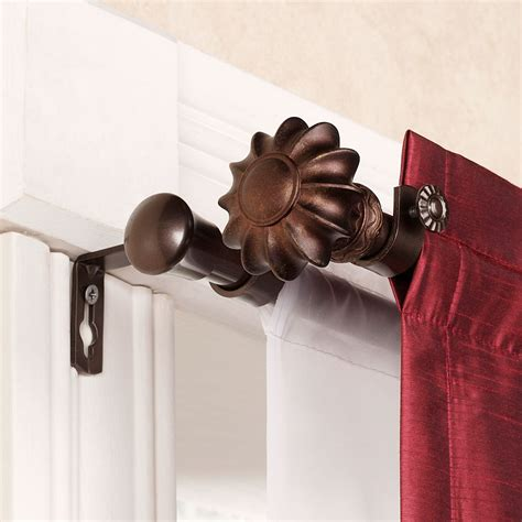 double rod curtain set flair cocoa double curtain rod set 28 quot to 120 quot