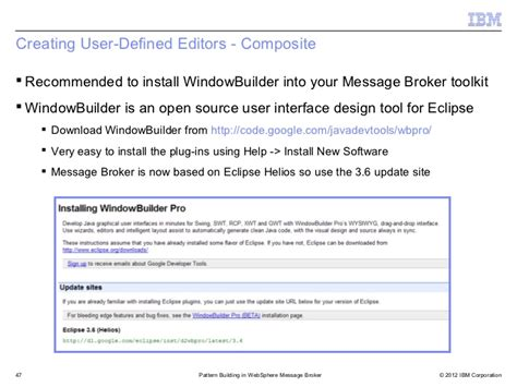 pattern explorer in message broker advanced pattern authoring with websphere message broker