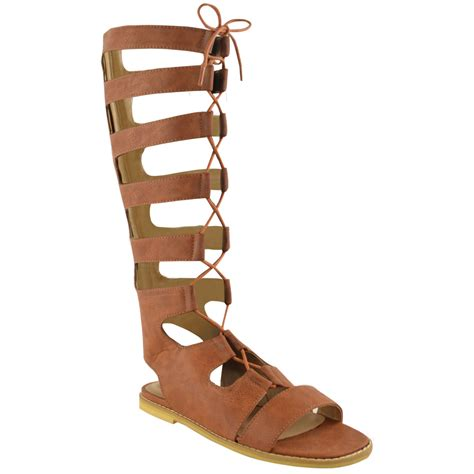 high laced sandals womens knee high gladiator lace up cut out flat