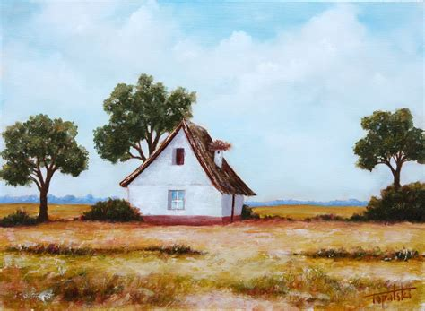 house portrait artist farm house with a nest oil painting fine arts gallery