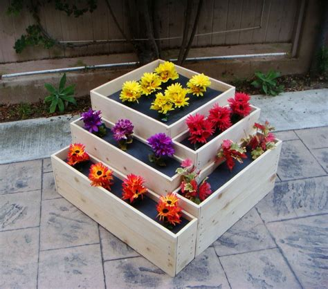 Wooden Cascade Planter by Crafted Wood Planter Quot Cascade Quot 36 X 36 X 20 Inch
