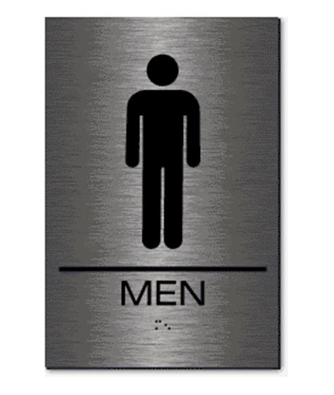 stainless steel bathroom signs epms01 men s restroom sign braille brushed stainless