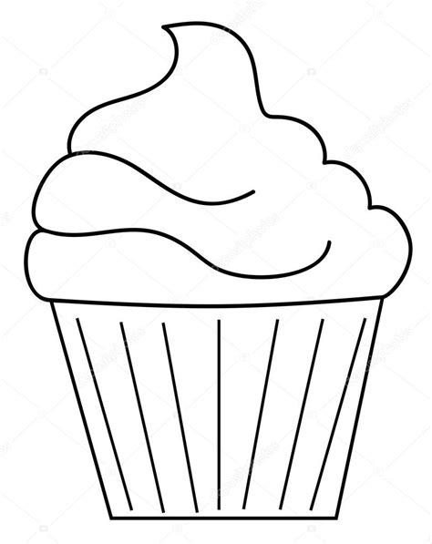 clipart da colorare pagina da colorare di cupcake vettoriali stock