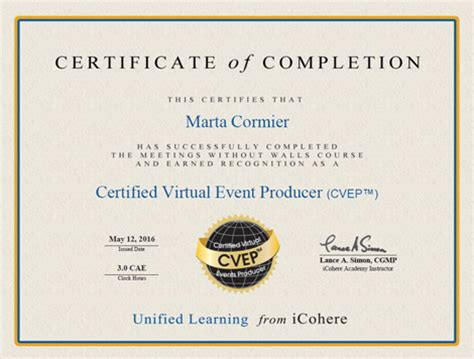 event design certification meetings without walls certificate