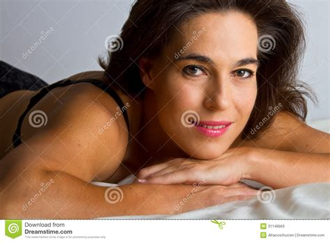 laid on the bed woman in black underwear lay on bed stock photos image