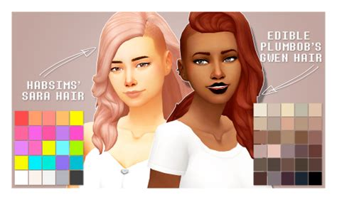 sims 4 half shaved side hair sims trash 1 shaved hair recolors habsims sara hair