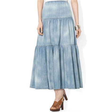 Maxi Denim Lipat 1 lyst by ralph co tiered stonewashed denim maxi skirt in blue
