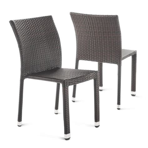 stackable outdoor dining chairs noble house lucian multibrown stackable armless wicker