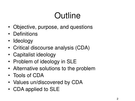Ppt Language And Power Applying Critical Discourse Analysis Cda To Second Language Sle Presentation Outline