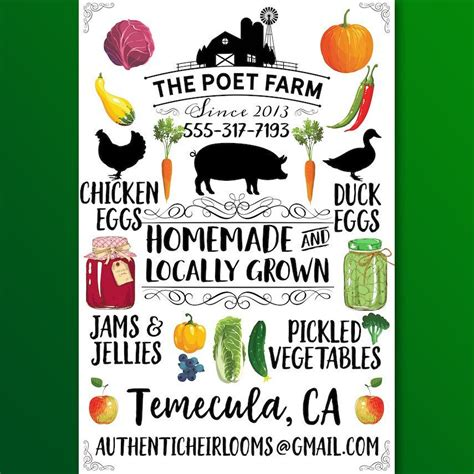 Handmade Posters - custom farm poster vegetables animals jams jellies