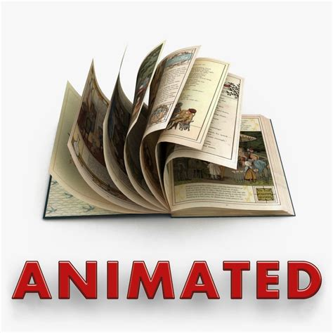 animated picture of a book book animations 3d model