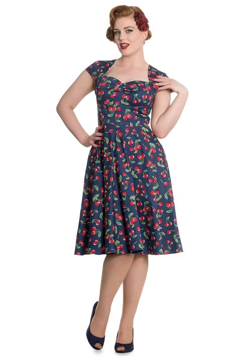 St Cherry Dress Cc hell bunny april 50 s vintage swing pin up cherry dress plus size xs 4xl