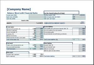 Balance Sheet Template Excel by Balance Sheet With Financial Ratio Excel Templates