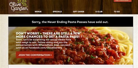 olive garden 8 weeks olive garden offers 7 weeks of endless pasta for 100 until promotion crashes site