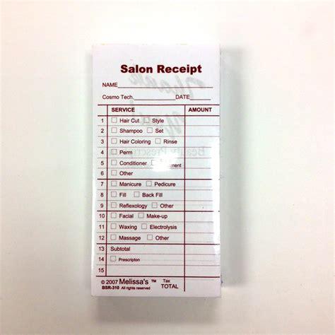 Salon Service Receipt Template by Salon Receipts Rubinov S