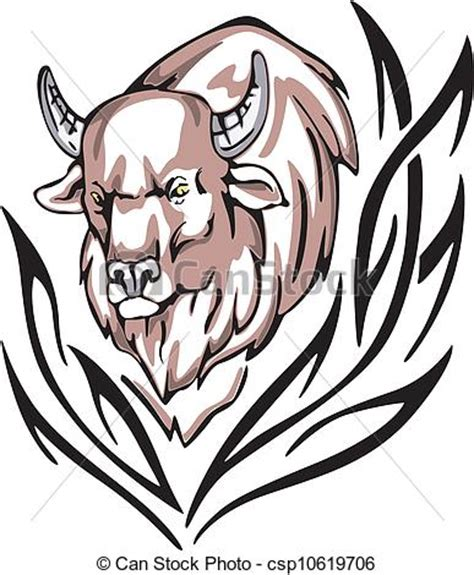 vector clipart of bison tattoo tattoo with bison head