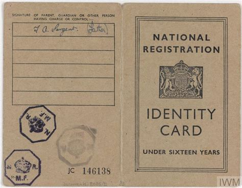 postwar national registration identity cards documents
