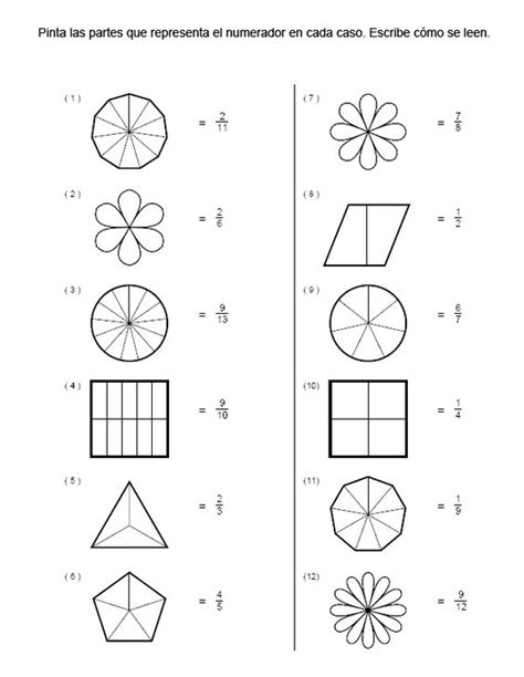 imagenes matematicas de fracciones ejercicios de fracciones para colorear buscar con google