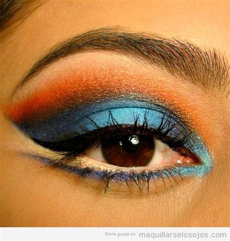 Imagenes De Ojos Naranjas | maquillaje de ojos en azul y naranja maquillarse los ojos