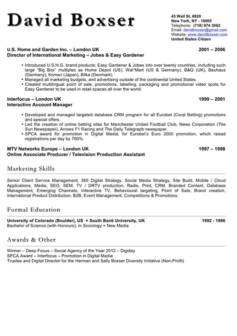 Electronics Resume Sample by David Boxser S Resume