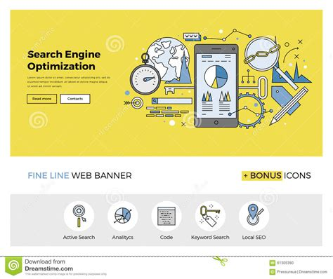 Search Engine Optimization Flat Line Banner Stock Vector Data Analytics Website Template
