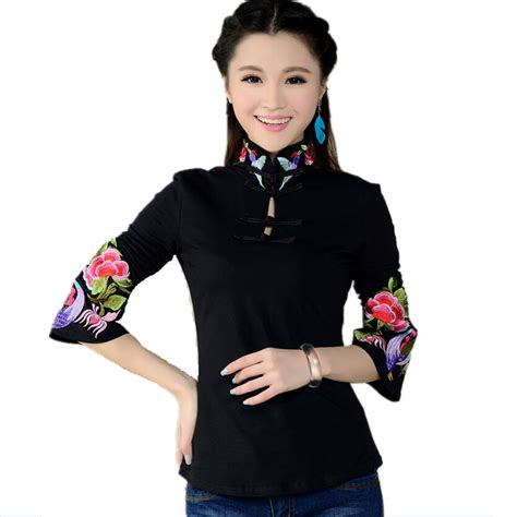 Blouse White Etnic style shirt s 2016 ethnic black white stand collar embroidered blouse