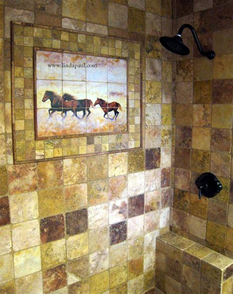 western wall mural murals kitchen tile backsplashes of horses horses tiles