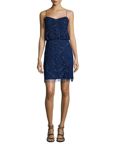 aidan mattox beaded dress aidan mattox spaghetti beaded dress in blue lyst