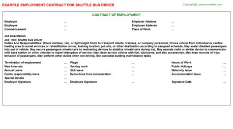 shuttle driver employment contract