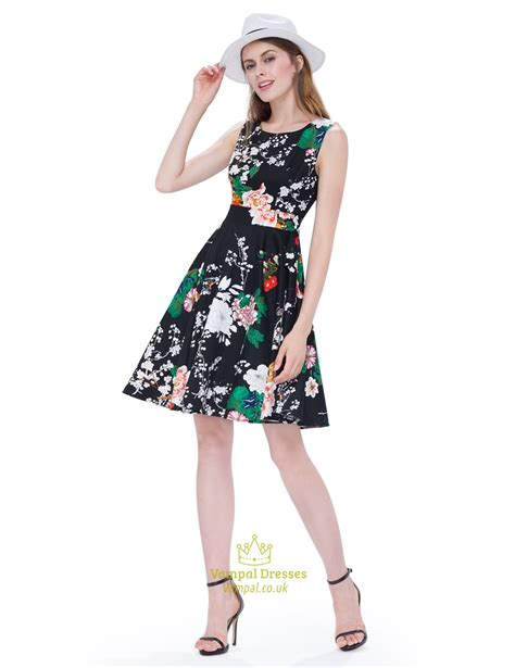 Mergory Flowery Flare Mini Dress vintage black scoop neck sleeveless floral print fit and