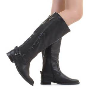 Womens wide calf black riding stretch leather look ladies flat boots