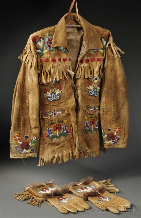 the european tribe vintage cree athabascan beaded hide coat and matching gauntlets c