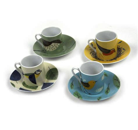 Set Biry birdy set of 4 espresso cups and saucers by magpie