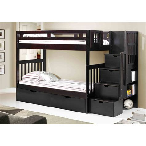espresso bunk beds staircase bunk bed espresso mattress superstore