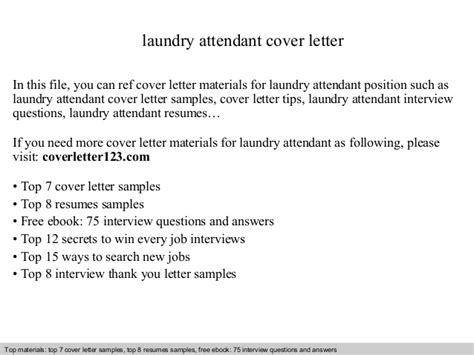 Laundry Attendant Cover Letter by Laundry Attendant Cover Letter