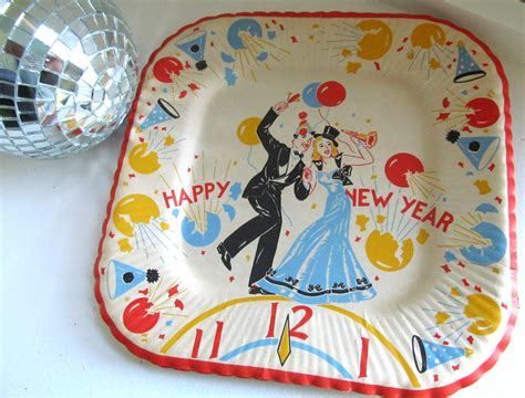 new year paper plates uk vintage set 1960s new years paper plates five new years