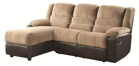 huxley two tone sectional sofa with one reclining seat and chaise lounge all nations furniture