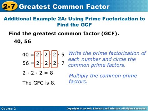 finding prime factors of n and their multiplicities greatest common factors