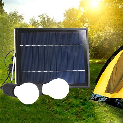 Solar Panel Landscape Lighting Outdoor Solar Power Panel 2 Led Light L Usb Charger Home System Kit Garden Ebay