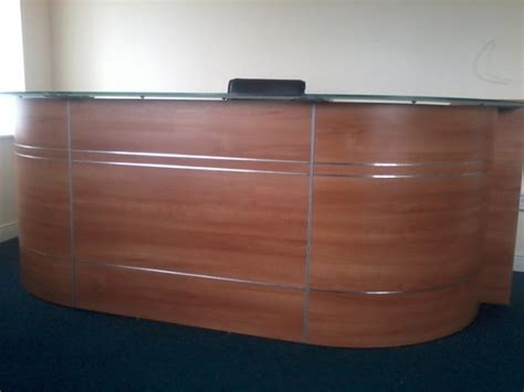 beautiful curved frosted glass top reception desk for sale