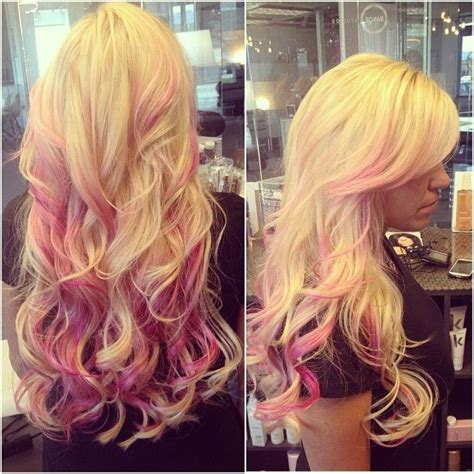 blone hair with pink streaks 12 blonde hair with red highlights hair color ideas