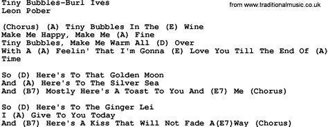 Tiiiiny Buubblesss by Country Tiny Bubbles Burl Ives Lyrics And Chords